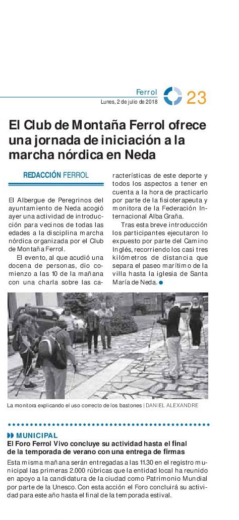 Diario de FERROL 02-07-2018 marcha nordica-001
